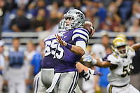 Kansas State quarterback Jake Waters (15) during Alamo Bowl, Friday, January 02, 2015 in San Antonio, Tex. UCLA leads Kansas State 31-6 at the halftime. (Mo Khursheed/TFV Media via AP Images)