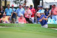 Matt Kuchar (USA) hits from the trap on 9 during Saturday's round 3 of the PGA Championship at the Quail Hollow Club in Charlotte, North Carolina. 8/12/2017.<br /> Picture: Golffile | Ken Murray<br /> <br /> <br /> All photo usage must carry mandatory copyright credit (&copy; Golffile | Ken Murray)