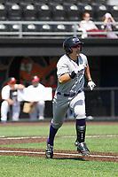 Winston-Salem Dash infielder Brady Conlan (9) at bat a game against the Buies Creek Astros at Jim Perry Stadium on the campus of Campbell University on April 9, 2017 in Buies Creek, North Carolina. Buies Creek defeated Winston-Salem 2-0. (Robert Gurganus/Four Seam Images)