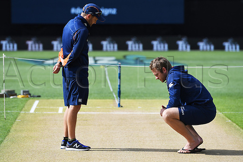 February 17th 2017,  Mike Hesson and Kane Williamson inspect the wicket.<br /> International Twenty20 Cricket. New Zealand Black Caps v South Africa, Eden Park, Auckland, New Zealand. Friday 17 February 2017