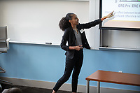 "Elena Daniel presents, ""Design Matters: Physical Activity and Social Behaviors of Urban Children on Schoolyards with Differing Levels of Green Space""<br /> Mentor: Marci Raney, Kinesiology<br /> Occidental College's Undergraduate Research Center hosts their annual Summer Undergraduate Research Conference on July 31, 2019. Student researchers presented their work as either oral or poster presentations at this final conference. The program lasts 10 weeks and involves independent research in all departments.<br /> (Photo by Marc Campos, Occidental College Photographer)"