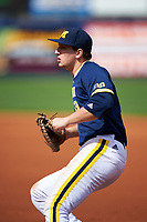Michigan Wolverines first baseman Carmen Benedetti (43) during the second game of a doubleheader against the Canisius College Golden Griffins on February 20, 2016 at Tradition Field in St. Lucie, Florida.  Michigan defeated Canisius 3-0.  (Mike Janes/Four Seam Images)