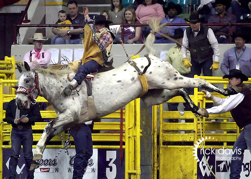 1/19/09--Photo by Rick Davis--PRCA cowboy Cody DeMers of Kimberly, Idaho scores an 81 point bareback ride on the Calgary bronc Nobel Prize during action at the 103 National Western Stock Show and Rodeo in Denver, Colorado.