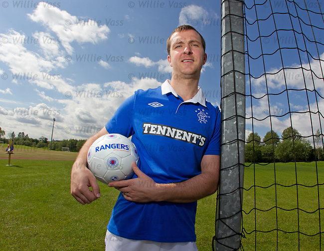 Andy Webster models the new retro home strip for the SPL champions