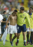 Landon Donovan is consoled by Tony Meola after the game. The USA lost to Germany 1-0 in the Quarterfinals of the FIFA World Cup 2002 in South Korea on June 21, 2002.