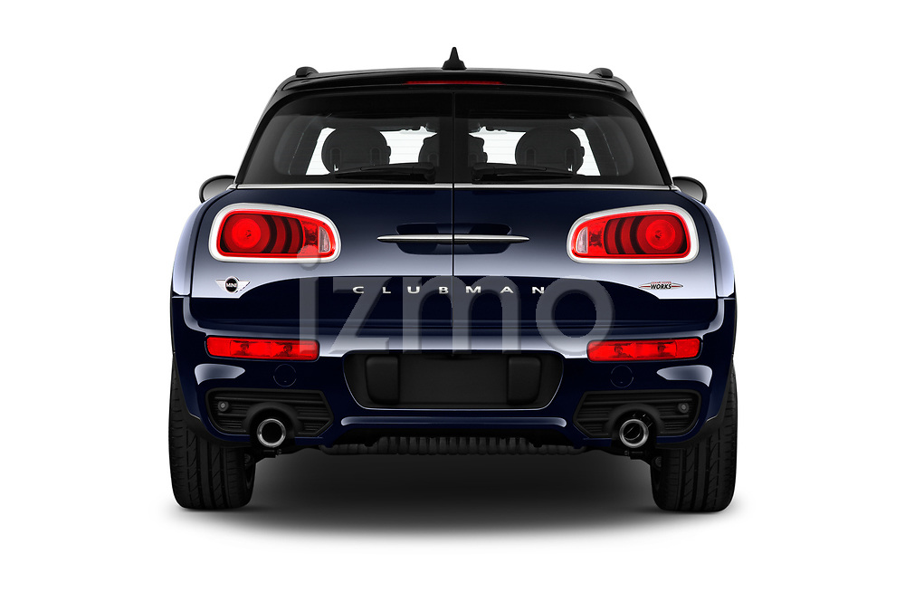Straight rear view of 2019 MINI Clubman John-Cooper-Works-ALL4 5 Door Wagon Rear View  stock images