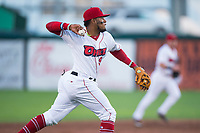 Orem Owlz third baseman Kevin Maitan (9) throws to first base during a Pioneer League game against the Ogden Raptors at Home of the OWLZ on August 24, 2018 in Orem, Utah. The Ogden Raptors defeated the Orem Owlz by a score of 13-5. (Zachary Lucy/Four Seam Images)