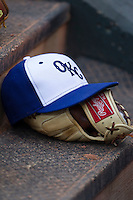 Oklahoma City Dodgers hat on June 12, 2015 at Chickasaw Bricktown Ballpark in Oklahoma City, Oklahoma. The Dodgers defeated the Sounds 11-7. (Andrew Woolley/Four Seam Images)
