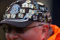 A supporter proudly displays his badge collection including todays Wycombe v Oxford during the Sky Bet League 2 match between Wycombe Wanderers and Oxford United at Adams Park, High Wycombe, England on 19 December 2015. Photo by Andy Rowland.