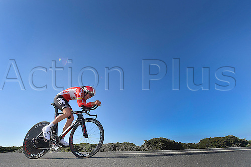 19.02.2016. Sagres, Portual.  BENOOT Tiesj (BEL) Rider of LOTTO SOUDAL in action during stage 3 of the 42nd Tour of Algarve cycling race, an individual time trial of 18km, with start and finish in Sagres on February 19, 2016 in Sagres, Portugal.