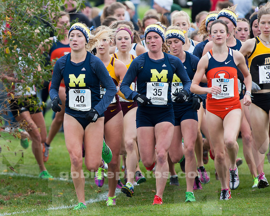The University of Michigan women's cross country team captured the Big Ten title at Forest Akers Golf Course in East Lansing, Mich., on October 28, 2012.