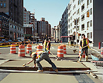 Bike Lane construction along 8th Ave. in New York City, New York, March 21, 2009.
