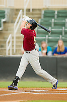 Brandon Nimmo (9) of the Savannah Sand Gnats follows through on his swing against the Kannapolis Intimidators at CMC-Northeast Stadium on August 20, 2013 in Kannapolis, North Carolina.  The Sand Gnats defeated the Intimidators 5-2.  (Brian Westerholt/Four Seam Images)