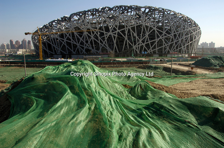 Construction site of the National Stadium known as the Bird Nest for the Beijing 2008 Olympics Games in Beijing, China..21 Jan 2007