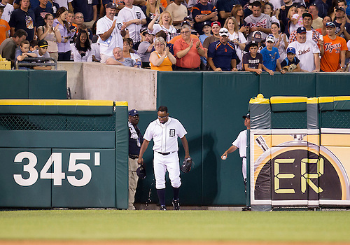 August 06, 2012:  Detroit Tigers relief pitcher Jose Valverde (46) enters the game from the bullpen during MLB game action between the New York Yankees and the Detroit Tigers at Comerica Park in Detroit, Michigan.  The Tigers defeated the Yankees 7-2.