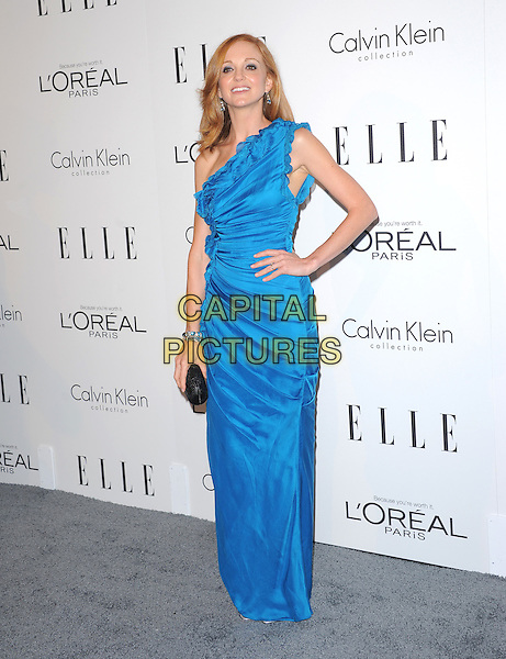 Jayma Mays.18th Annual ELLE Women in Hollywood celebration held at The Four Seasons in Beverly Hills, California, USA..October 17th, 2011.full length blue one shoulder dress hand on hip ruffle clutch bag black ruched pleated pleated .CAP/RKE/DVS.©DVS/RockinExposures/Capital Pictures.