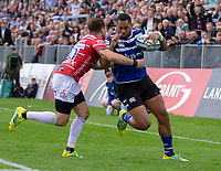 Bath Rugby's Joe Cokanasiga is tackled by Gloucester Rugby's Danny Cipriani<br /> <br /> Photographer Bob Bradford/CameraSport<br /> <br /> Gallagher Premiership - Bath Rugby v Gloucester Rugby - Saturday September 8th 2018 - The Recreation Ground - Bath<br /> <br /> World Copyright &copy; 2018 CameraSport. All rights reserved. 43 Linden Ave. Countesthorpe. Leicester. England. LE8 5PG - Tel: +44 (0) 116 277 4147 - admin@camerasport.com - www.camerasport.com