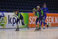 SCHAATSEN: HEERENVEEN: 11-12-2014, IJsstadion Thialf, International Speedskating training, Janine Smit, Letitia de Jong, Margot Boer, ©foto Martin de Jong