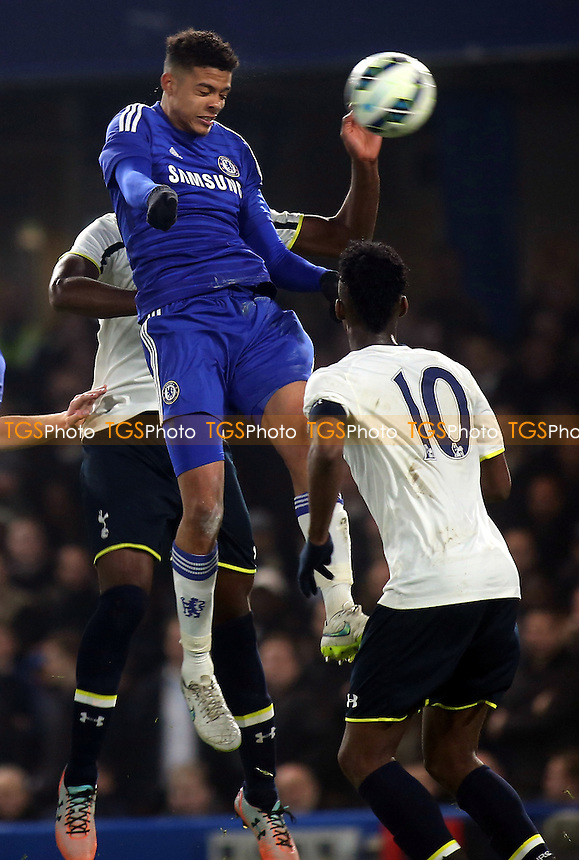 Jake Clarke-Salter of Chelsea heads the ball towards the Tottenham goal - Chelsea Youth vs Tottenham Hotspur Youth - FA Youth Cup Semi-Final 2nd Leg Football at Stamford Bridge, London - 18/03/15 - MANDATORY CREDIT: Paul Dennis/TGSPHOTO - Self billing applies where appropriate - contact@tgsphoto.co.uk - NO UNPAID USE