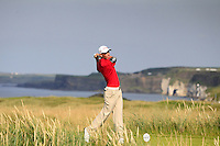 Jack Davidson (WAL) on the 15th tee during the Afternoon Singles between Ireland and Wales at the Home Internationals at Royal Portrush Golf Club on Thursday 13th August 2015.<br /> Picture:  Thos Caffrey / www.golffile.ie