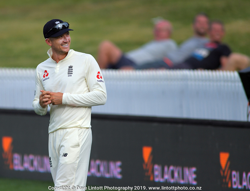 England's Joe Denley grins at Barmy Army songs during day four of the international cricket 2nd test match between NZ Black Caps and England at Seddon Park in Hamilton, New Zealand on Friday, 22 November 2019. Photo: Dave Lintott / lintottphoto.co.nz