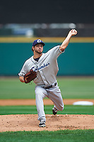 Columbus Clippers starting pitcher Ryan Merritt (12) delivers a pitch during a game against the Rochester Red Wings on June 16, 2016 at Frontier Field in Rochester, New York.  Rochester defeated Columbus 6-2.  (Mike Janes/Four Seam Images)