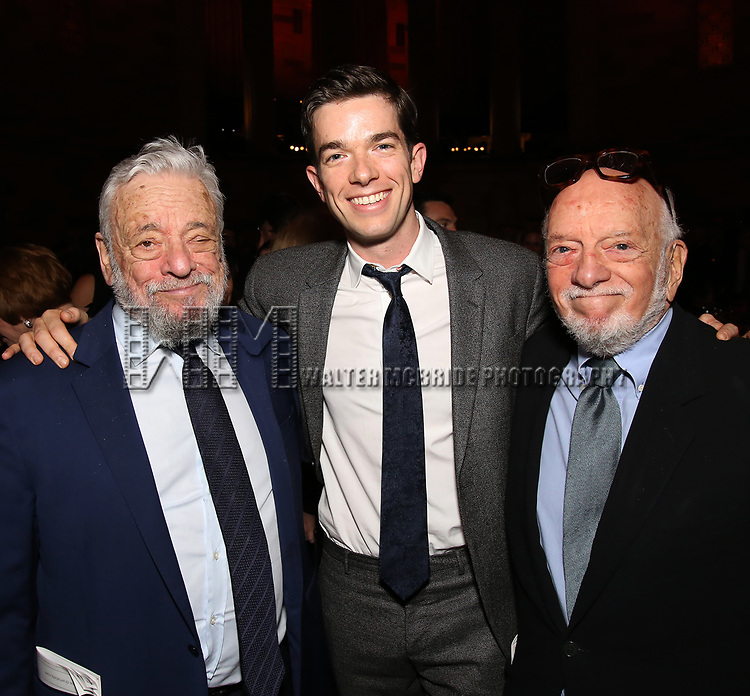 Stephen Sondheim, John Mulaney and Hal Prince attend 2017 Dramatists Guild Foundation Gala reception at Gotham Hall on November 6, 2017 in New York City.