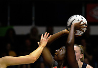 England goalshoot Kadeen Corbin in action during the Quad Series netball match between the New Zealand Silver Ferns and England Roses at Trusts Stadium, Auckland, New Zealand on Wednesday, 30 August 2017. Photo: Dave Lintott / lintottphoto.co.nz