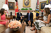 United States President Donald J. Trump meets with King Felipe VI and Queen Letizia of Spain at The White House in Washington, DC, June 19, 2018. Chris Kleponis/ CNP