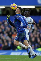 Mateo Kovacic of Chelsea and Everton's Idrissa Gueye challenge for the ball during Chelsea vs Everton, Premier League Football at Stamford Bridge on 11th November 2018