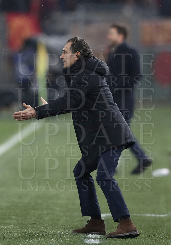 Football, Serie A: AS Roma - Genoa, Olympic stadium, Rome, December 16, 2018. <br /> Genoa's coach Cesare Prandelli gestures during the Italian Serie A football match between Roma and Genoa at Rome's Olympic stadium, on December 16, 2018.<br /> UPDATE IMAGES PRESS/Isabella Bonotto