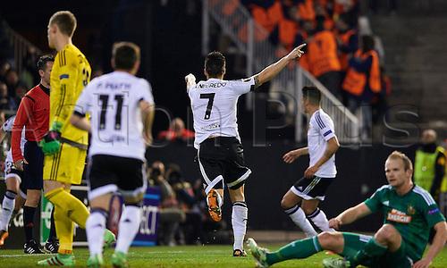 18.02.2016. Mestalla Stadium, Valencia, Spain. Europa League. Valencia versus Rapid Wien.  Forward Alvaro Negredo of Valencia CF celebrates (C) after scoring the fourth goal for his team in the 29th minute
