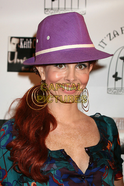 "PHOEBE PRICE.""Hats Off For Cancer"" Benefit Party at Sugar Boutique, Hollywood, California, USA..May 9th, 2007.headshot portrait trilby hat purple hoop earrings .CAP/ADM/BP.©Byron Purvis/AdMedia/Capital Pictures"