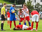 31.07.2017, Silberstadt Arena, Schwaz, AUT, FSP, Hamburger SV vs Antalyaspor, nach hartem Einsteigen von Sven Schipplock (Hamburg #19) gegen Diego Angelo (Antalyaspor #27), Ferhat Kaplan (Antalyaspor #35), Diego Angelo (Antalyaspor #27) am Boden, Sven Schipplock (Hamburg #19) entschuldigt sich, Andre Hahn (Hamburg #11)<br /> <br /> Foto &copy; nordphoto / Hafner