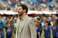 San Jose, CA - Wednesday July 25, 2018: National anthem during a Major League Soccer (MLS) match between the San Jose Earthquakes and the Seattle Sounders FC at Avaya Stadium.