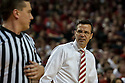 March 1, 2014: head coach Tim Miles of the Nebraska Cornhuskers reacts to a call by the officials during the first half in the game against the Northwestern Wildcats at the Pinnacle Bank Arena, Lincoln, NE. Nebraska 54 Northwestern 47.