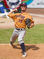 GREEN BAY - June 2015: Kenosha Kingfish pitcher Ryan Orr (35) during a Northwoods League game against the Green Bay Bullfrogs on June 21st, 2015 at Joannes Park in Green Bay, Wisconsin. Green Bay defeated Kenosha 10-7. (Brad Krause/Krause Sports Photography)