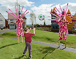 Stilt walkers: Sara and Emma-Lou as 'Birds of Paradise' from Vertigo Stilts <br /> <br /> <br /> <br /> at the official opening of the site  <br /> <br /> Redrow Homes Official opening of  at Belle View at Mon Bank Newport with Cardiff Blues Players Alex Cuthbert and Rhys Williams - Newport <br /> <br /> &copy; www.sportingwales.com- PLEASE CREDIT IAN COOK