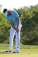 Raphael Jacquelin (FRA) takes his putt on the 7th green during Thursday's Round 1 of the 2016 Portugal Masters held at the Oceanico Victoria Golf Course, Vilamoura, Algarve, Portugal. 19th October 2016.<br /> Picture: Eoin Clarke | Golffile<br /> <br /> <br /> All photos usage must carry mandatory copyright credit (&copy; Golffile | Eoin Clarke)