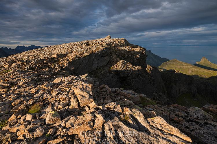 Rocky summit of Støvla mountain peak, Moskenesøy, Lofoten Islands, Norway