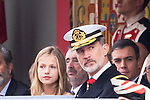 King Felipe VI of Spain and Princess of Asturias Leonor during the Military parade because of the Spanish National Holiday. October 12, 2019.. (ALTERPHOTOS/ Francis Gonzalez)