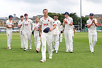 Jamie Porter leads the victorious Essex players off the field during Essex CCC vs Somerset CCC, Specsavers County Championship Division 1 Cricket at The Cloudfm County Ground on 25th June 2019