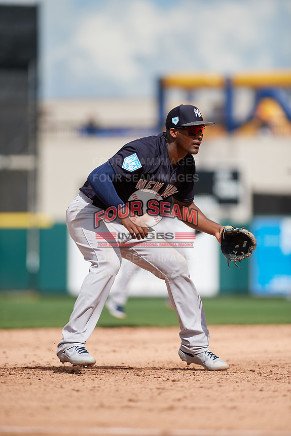 New York Yankees third baseman Miguel Andujar (41) during a Grapefruit League Spring Training game against the Detroit Tigers on February 27, 2019 at Publix Field at Joker Marchant Stadium in Lakeland, Florida.  Yankees defeated the Tigers 10-4 as the game was called after the sixth inning due to rain.  (Mike Janes/Four Seam Images)