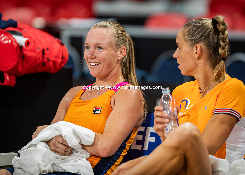 The Hague, The Netherlands, Februari 4, 2020,  Sportcampus , FedCup  Netherlands - Balarus, Dutch team practise, Kiki Bertens  (L) and Arantxa Rus.<br /> Photo: Tennisimages/Henk Koster