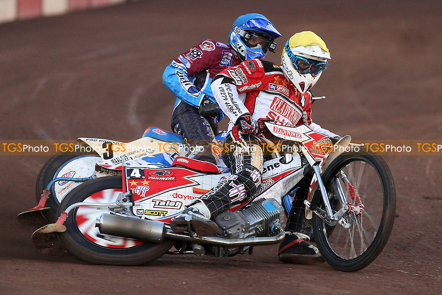 Heat 3: Kauko Nieminen (blue) and Linus Sundstom (yellow) - Lakeside Hammers vs Peterborough Panthers - Elite League Speedway at Arena Essex Raceway - 19/08/11 - MANDATORY CREDIT: Gavin Ellis/TGSPHOTO - Self billing applies where appropriate - 0845 094 6026 - contact@tgsphoto.co.uk - NO UNPAID USE.