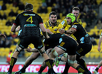 Ben May takes the ball up during the Super Rugby quarterfinal match between the Hurricanes and Chiefs at Westpac Stadium in Wellington, New Zealand on Friday, 20 July 2018. Photo: Dave Lintott / lintottphoto.co.nz