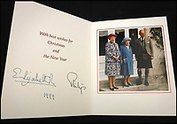 BNPS.co.uk (01202 558833)<br /> Pic: MooreAllen&amp;Innocent/BNPS<br /> <br /> The Queen and Philip's 1999 card.<br /> <br /> A comprehensive collection of Christmas cards sent by the Queen and Prince Philip over a 30 year period have emerged to highlight the fascinating changes of the Royal Family.<br /> <br /> The 31 greetings cards carry various images of the Royal couple on the front along with different members of their family.<br /> <br /> They were sent every year without fail from 1971 through to 2001 to the unnamed recipient, who was clearly an acquaintance of the Queen.<br /> <br /> The first card features a formal photograph of the Queen, the Duke of Edinburgh, a 23-year-old Prince Charles, Princess Anne, Prince Andrew, aged 11 and seven-year-old Prince Edward.<br /> <br /> They are being sold in Cirencester on Friday.
