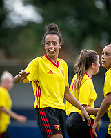 Goalscorer Natalie Murray of Watford Ladies during the pre season friendly match between Stevenage Ladies FC and Watford Ladies at The County Ground, Letchworth Garden City, England on 16 July 2017. Photo by Andy Rowland / PRiME Media Images.