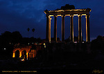 Temple of Saturn at nightfall 500 BC Forum Romanum Rome