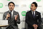 April 27, 2017, Tokyo, Japan - Toru Asada (L), chairman of Mitsukoshi Isetan Transit, a subsidiary of Mitsukoshi Isetan Holdings speaks before press as the company and Japanese SNS giant LINE will open a pop-up cafe and character goods shop featuring LINE's famous characters in Tokyo on Thursday, April 27, 2017 while LINE president takeshi Idezawa (R) looks on. The Shinjuku Box, run by Mitsukoshi Isetan Transit, will open cafes of Taiwan's ice dessert shop Ice Monster and US chocolate shop Max Brenner using LINE characters and LINE's character goods shop from April 28 near Shinjuku station.   (Photo by Yoshio Tsunoda/AFLO) LwX -ytd-